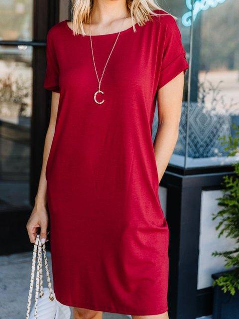 Solid Mini Dress Summer Plus Size Pockets Short Sleeve Dresses