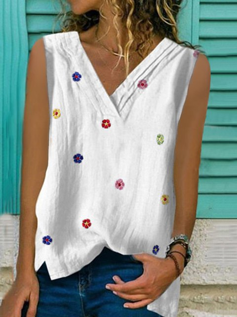 Printed V Neck Cotton-Blend Casual  Tops