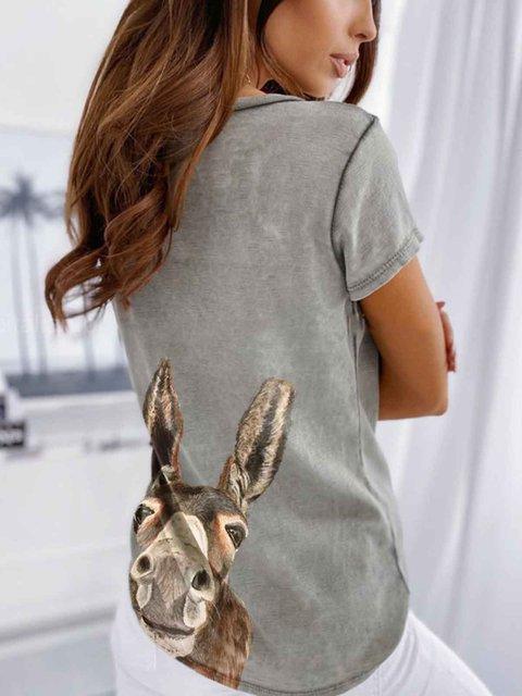 Gray Animal Short Sleeve V Neck Cotton Shirts & Tops