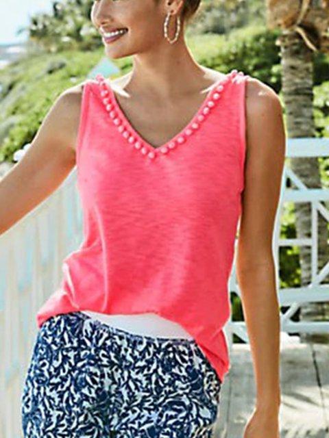 Pink Cotton-Blend V Neck Plain Sleeveless Shirts & Tops