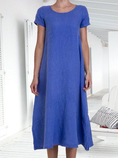 Summer Solid Midi Dress Plus Size Short Sleeve Dresses