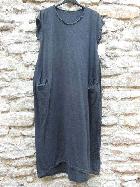 Crew Neck Solid Casual Pockets Maxi Dresses