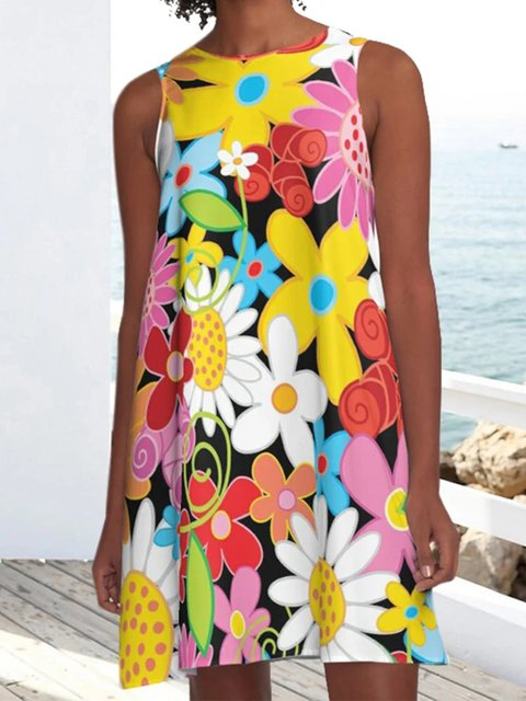 Multicolor Sleeveless Floral Print Dresses
