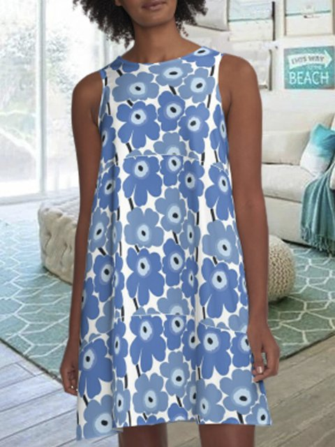 Womens Blue Sleeveless A-line Dresses