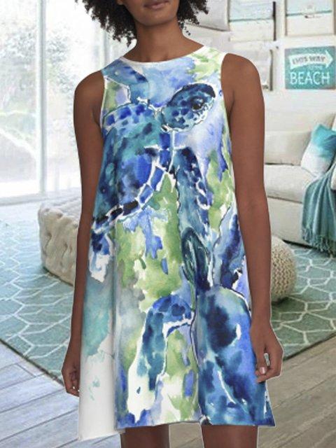 Womens Blue Casual Printed Dresses