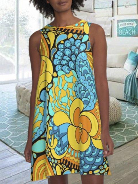 Multicolor Floral A-Line Print Dresses
