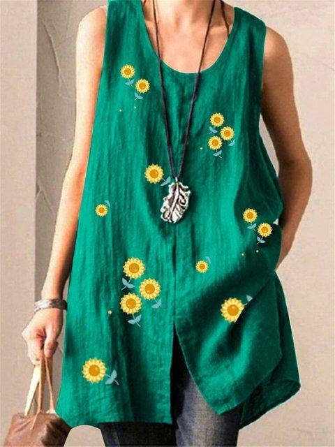 Floral-Print Casual Sleeveless Shirts & Tops
