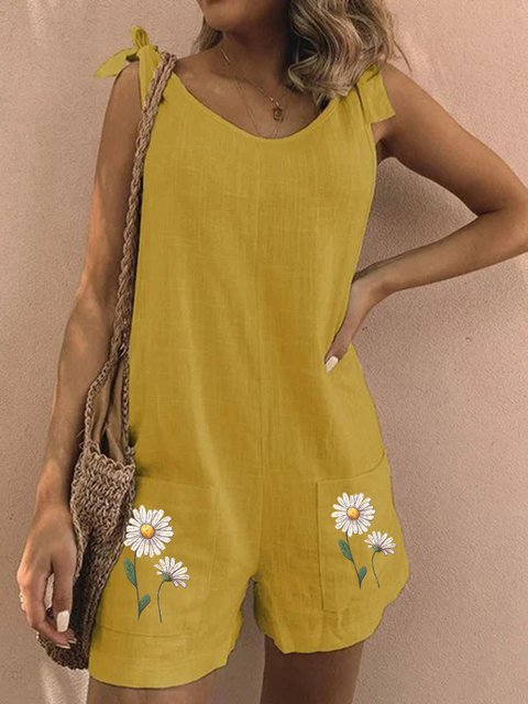 Yellow  Daisy Casual Sleeveless Floral Pants
