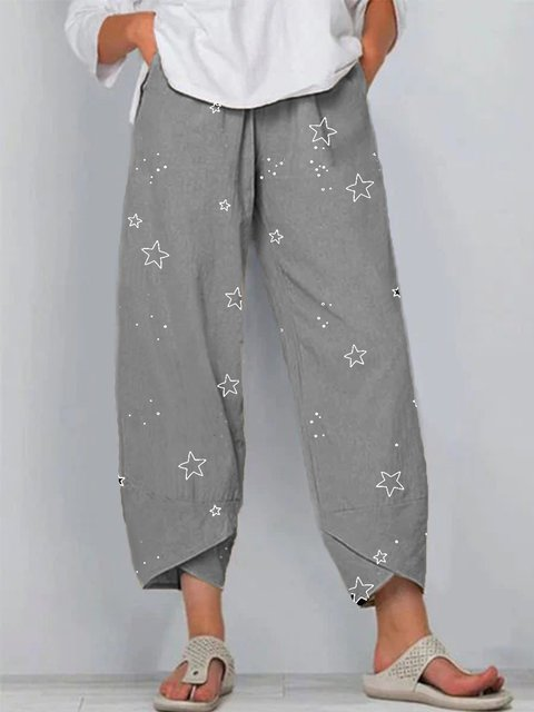 Gray Casual Cotton-Blend Star Pants