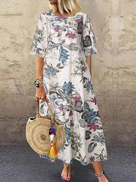 Vintage Crew Neck Floral-Print Maxi Dresses