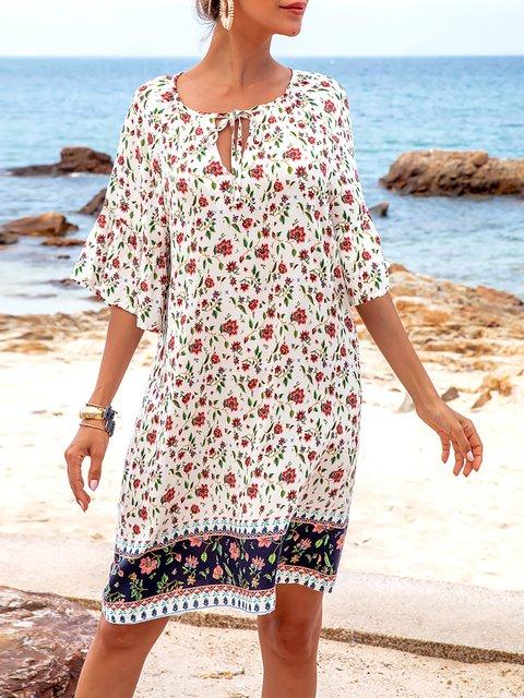 White Half Sleeve Crew Neck Floral-Print Boho Dresses