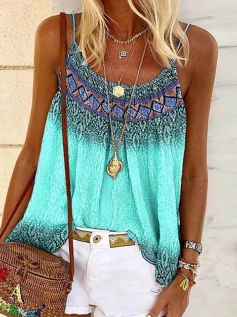 Casual Printed Cotton-Blend Sleeveless Shirts & Tops