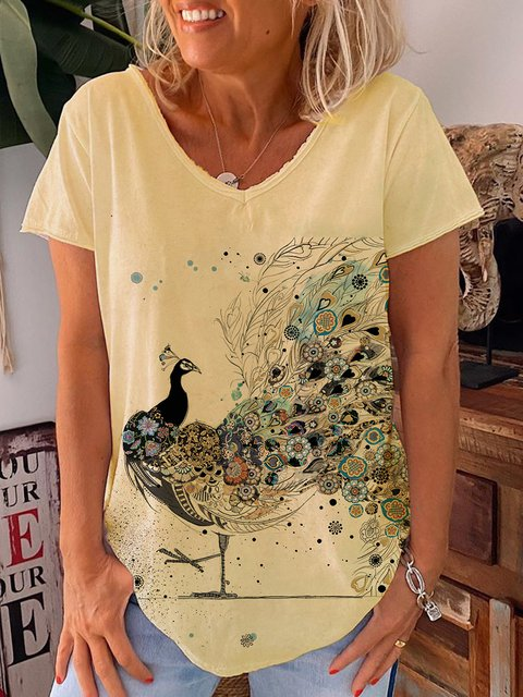 Yellow Cotton Short Sleeve V Neck Shirts & Tops