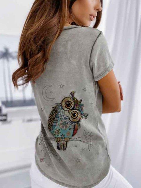 Gray Vintage V Neck Animal Cotton Shirts & Tops