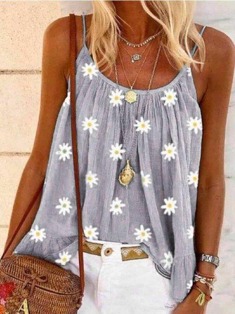 Sleeveless Floral-Print Casual Spaghetti Shirts & Tops
