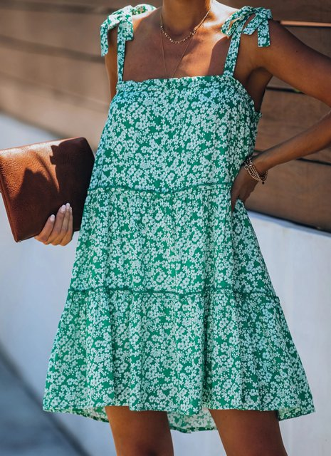 Square Neck Floral Casual Dresses