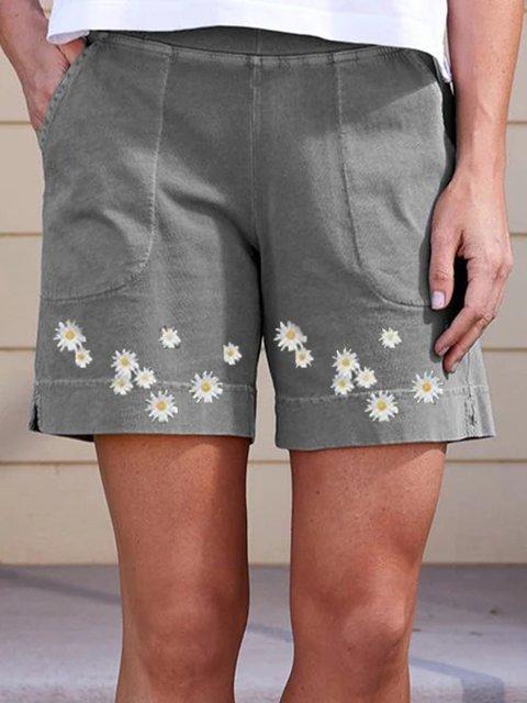 Gray Floral Cotton-Blend Casual Pants
