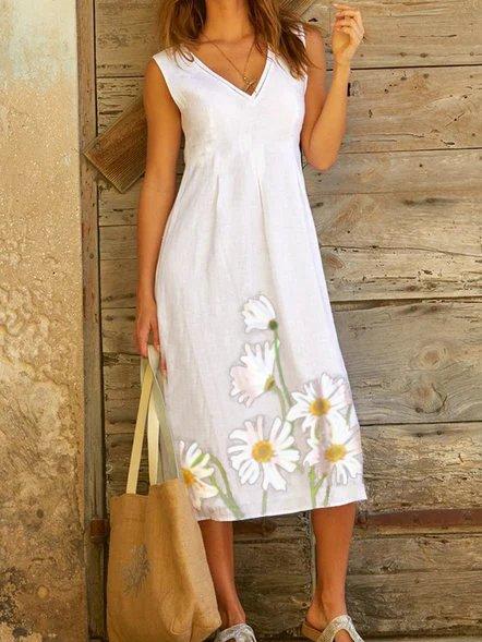 Cotton-Blend V Neck Short Sleeve Floral Dresses