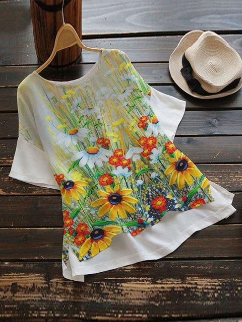 Khaki Casual Floral Shirts & Tops
