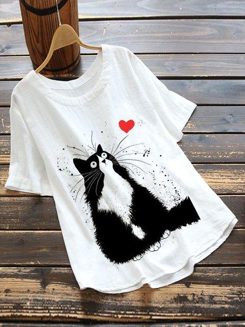 White Cartoon Casual Cotton-Blend Shirts & Tops