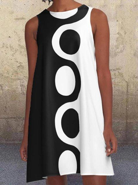 Black-White Sleeveless Crew Neck Dresses