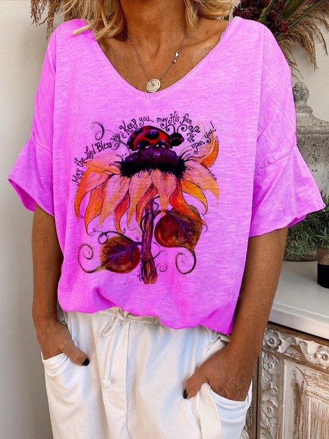 Purple Short Sleeve V Neck Cotton Shirts & Tops