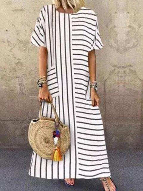 White Striped Short Sleeve Cotton-Blend Crew Neck Dresses