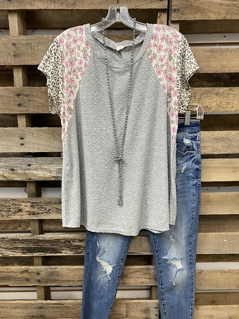 Floral Stitching Cutout T-shirt