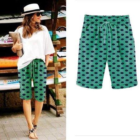 Polka dot casual ladies shorts