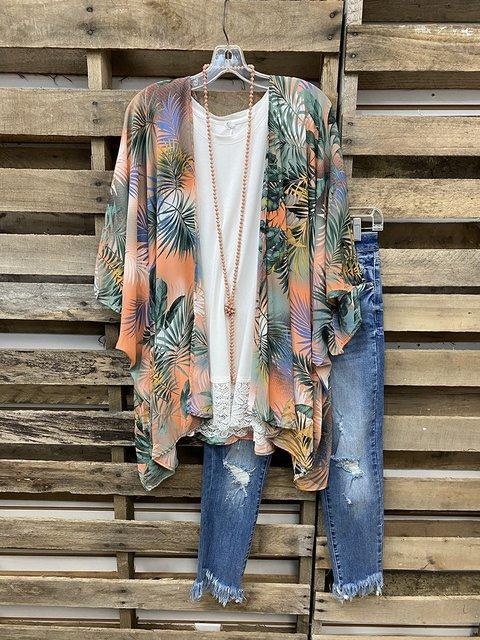 Summer Coconut Tree Gradient Color Cardigan