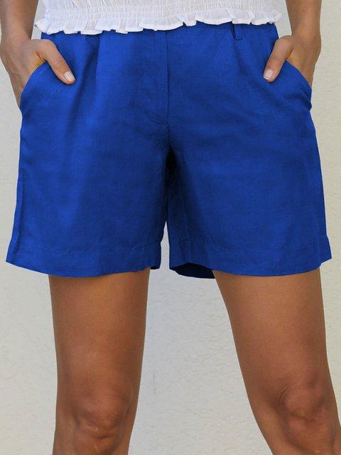 Summer Solid Pockets Shorts Women Pants