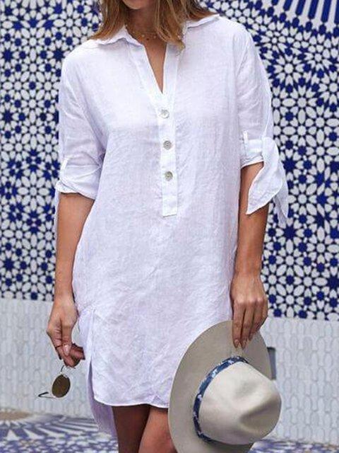 Classic V-neck Comfort Linen Dress
