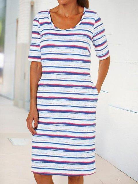 Short sleeve straight dress pocket dress