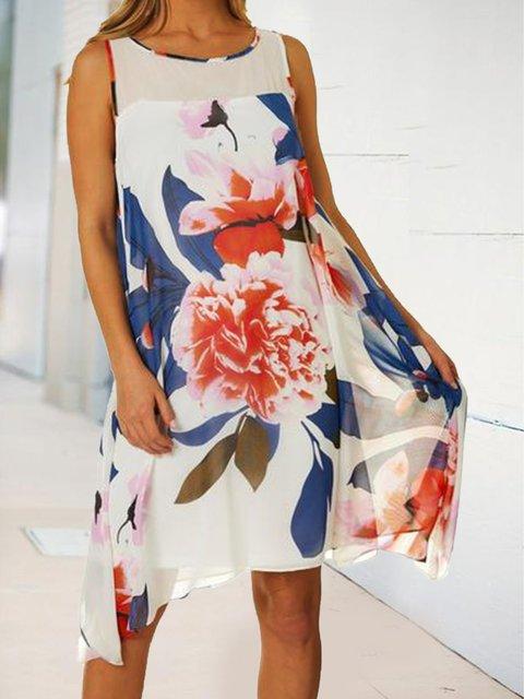Floral A swing dress loose midi dress