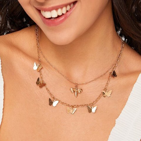 Idyllic Bee Butterfly Pendant Clavicle Chain