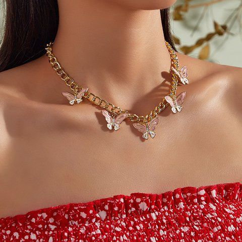 Cute Sweet Pink Butterfly Clavicle Necklace