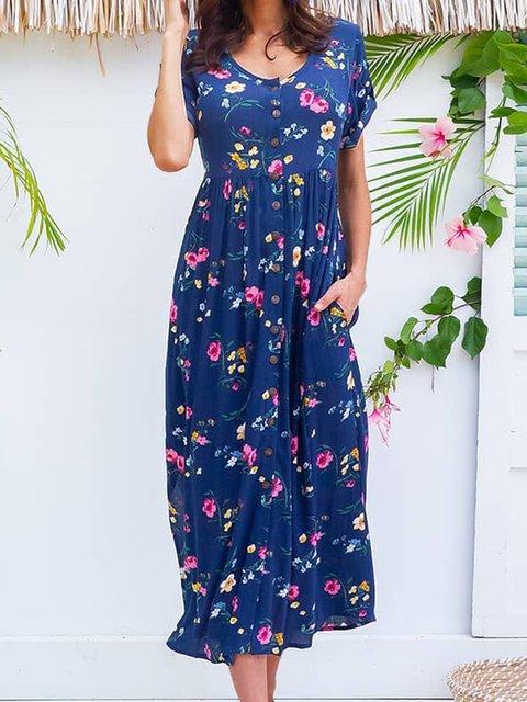 Floral Midi Dress Summer Plus Size Short Sleeve Dresses