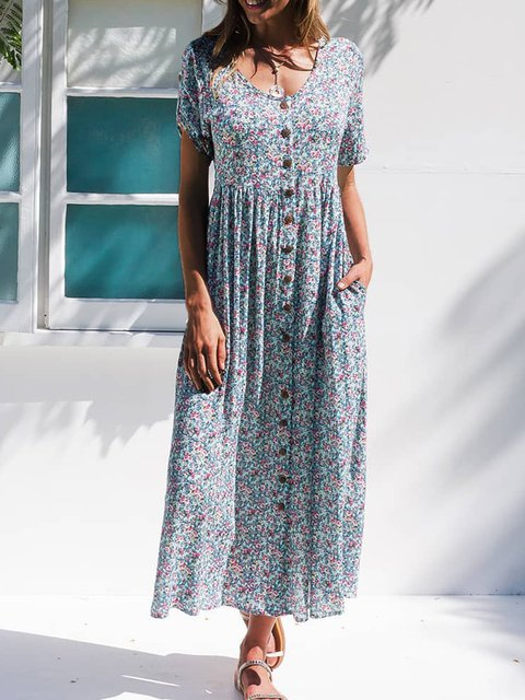 Floral Pockets Maxi Dress Summer Plus Size Short Sleeve Dresses