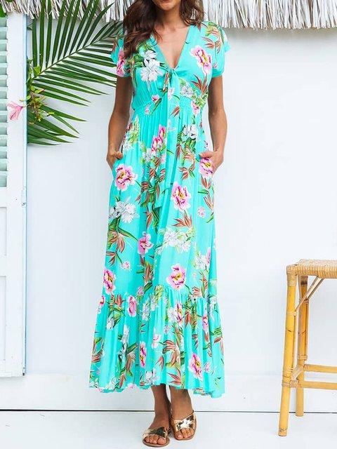 Summer Maxi Dress Plus Size Pockets Floral Dresses