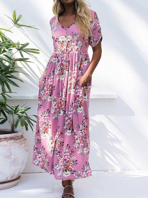 Floral Pockets Maxi Dress Summer Plus Size Dresses