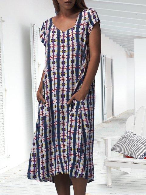 Summer Pockets Midi Dress Plus Size Short Sleeve Dresses
