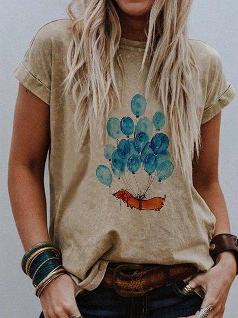 Khaki Cotton-Blend Short Sleeve Crew Neck Shirts & Tops
