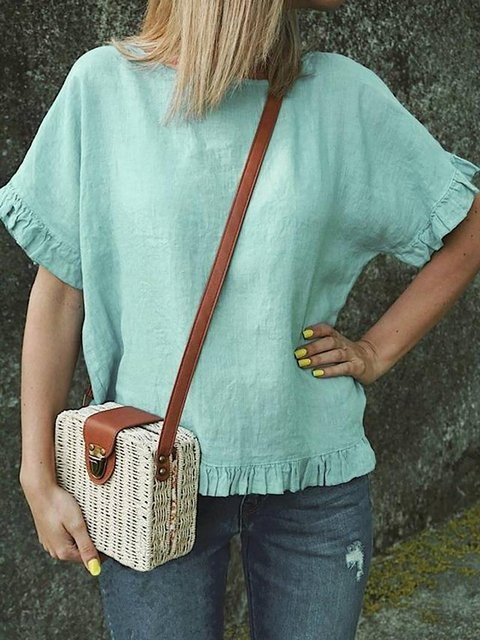 Solid Color Round Neck Loose Linen Blouse Tops