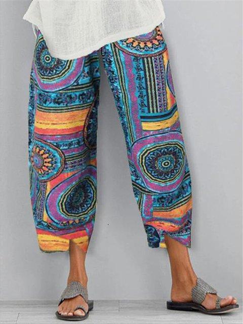 Blue Casual Floral-Print Pants
