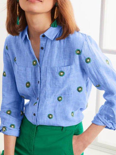 Blue Printed Long Sleeve Shirts & Tops