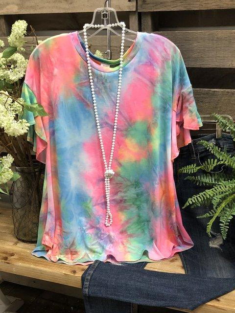 Color Casual Cotton-Blend Shirts & Tops
