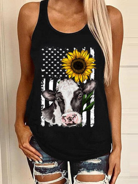 Club Beach Daily Casual Animal Cartoon Printed U-Neck Shift Sleeveless Vests