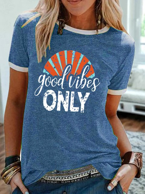 Blue Casual Crew Neck Cotton Shirts & Tops