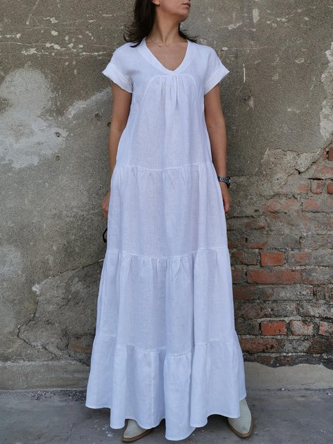 V Neck Short Sleeves Linen Long Dress