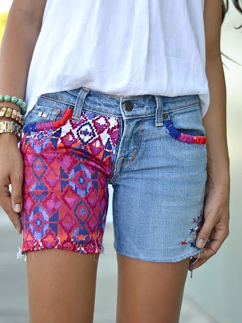 Denim Tribal Casual Shorts
